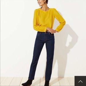 Loft Curvy Straight Leg Mid Rise Denim Jeans